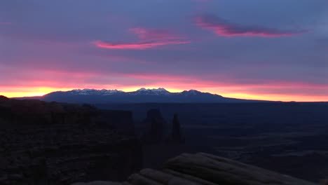 Long-Shot-Of-Snowcapped-La-Sal-Mountains-In-Canyonlands-National-Park-At-Goldenhour-1