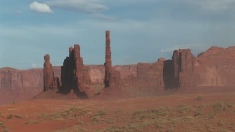 Long-Shot-Of-The-Totem-Pole-Rock-Formations-In-Monument-Valley-Tribal-Park-In-Arizona