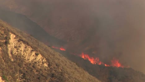 Long-Shot-Of-Wildfires-Burning-On-A-Hillside-In-Southern-California
