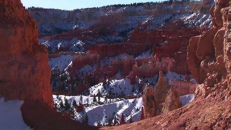 Medium-Wide-Static-Shot-Of-Snow-Captured-Inside-The-Claron-Formations-Of-Bryce-Canyon-National-Park