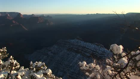 Wide-Silhouetted-Background-Vista-Of-Grand-Canyon-National-Park-Covered-In-Winter