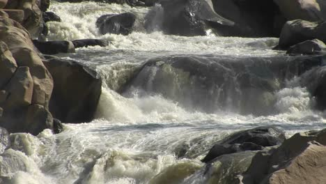 Medium-Shot-Of-The-Kern-River-Rapidly-Descending-A-Small-Falls-In-The-Sierra-Nevada-Mountains
