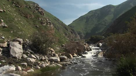 Wide-Shot-Of-The-Kern-River-Flowing-Down-Falls-Through-A-Canyon-In-The-Sierra-Nevada-Mountains