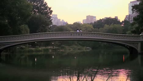 Slow-pan-across-a-lake-and-bridge-in-Central-Park-New-York-City