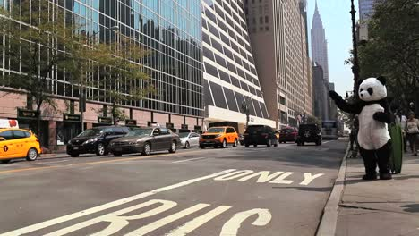 Yellow-cabs-and-other-traffic-pass-on-a-busy-street-in-New-York-City-while-a-person-in-a-panda-suit-looks-on
