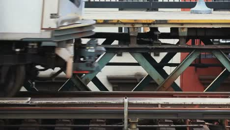 Close-up-view-of-train-wheels-as-a-train-exits-a-station-in-New-York-City
