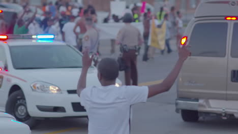 Protesters-march-and-chant-in-the-streets-of-Ferguson-Missouri