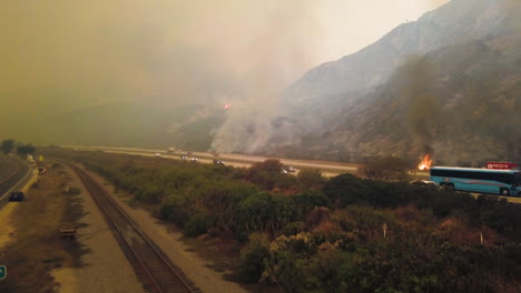 Aerial-of-firefighters-battling-the-huge-Thomas-fire-in-Ventura-County-along-the-101-freeway-2