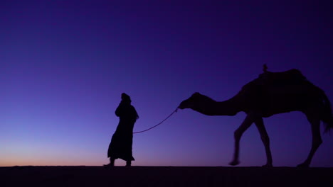 A-classic-travel-adventure-shot-of-a-man-leading-a-camel-across-a-dune-in-silhouette