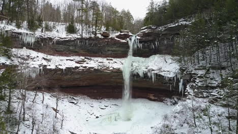 Beautiful-winter-aerial-shot-flying-up-to-a-waterfall-in-a-frozen-landscape