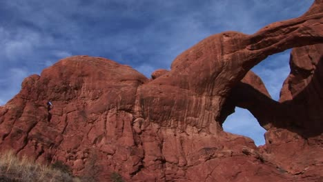 Double-Arch-casts-shadows-at-Arches-National-Park-Utah