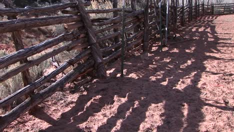 Closeup-of-an-old-log-fence-around-an-old-Western-corral