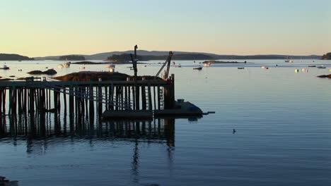 La-Silueta-De-Un-Pueblo-De-Langostas-En-Stonington-Maine