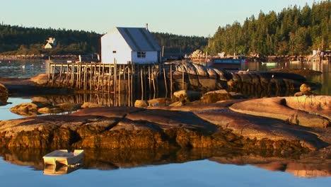 Un-Pequeño-Edificio-De-Aldea-De-Langosta-En-Stonington-Maine-Está-En-Una-Isla-De-Roca-Y-Un-Muelle