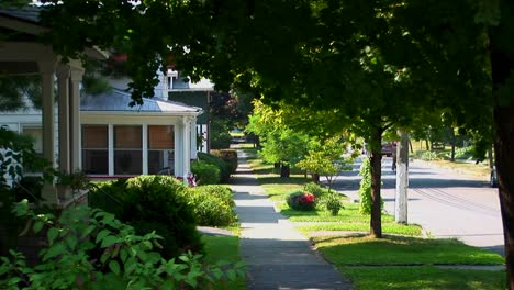 A-tree-covered-pathway-near-houses-on-a-street-in-small-town-America-1