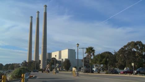 An-establishing-shot-of-a-power-plant
