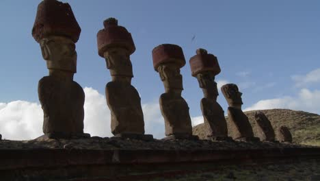 Easter-Island-statues-stand-in-a-long-row