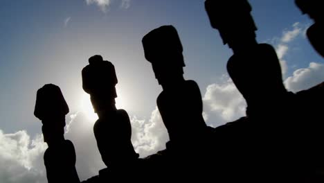Easter-Island-statues-are-silhouetted-against-the-sky