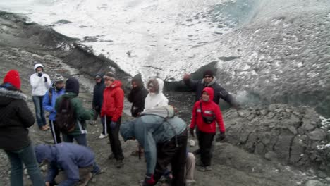 A-group-hikers-prepares-to-scale-a-glacier