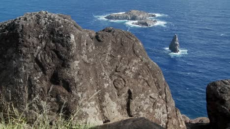 Mysterious-stone-carvings-adorn-a-lookout-spot-for-birdmen-on-Easter-Island