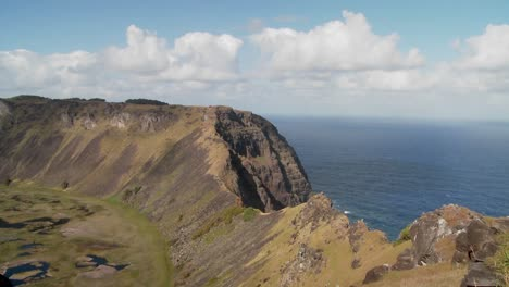 Time-lapse-across-a-volcanic-cone-crater-on-Easter-Island