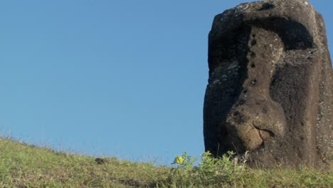 Pan-to-a-giant-stone-carving-on-Easter-Island