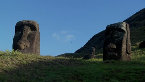 Low-angle-of-giant-stone-carvings-on-Easter-Island