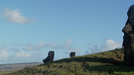 Pan-to-side-view-of-giant-stone-carving-on-Easter-Island