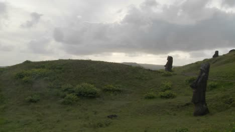 A-panning-shot-reveals-the-unfinished-statues-on-Easter-Island