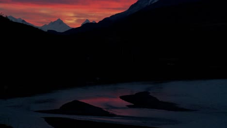 A-beautiful-deep-sunset-behind-mountains-in-far-Southern-Argentina-Torres-Del-Paine-Patagonia-1