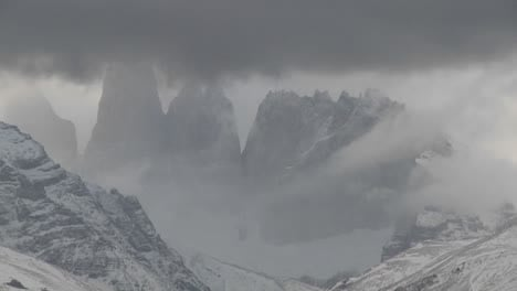 A-beautiful-time-lapse-shot-of-clouds-moving-over-the-mountains-in-Torres-Del-Paine-Patagonia-Argentina