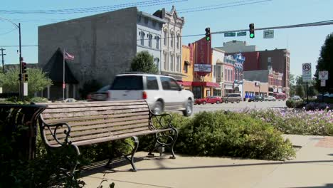 A-park-bench-and-Main-Street-in-the-all-American-town-of-Ottawa-Kansas