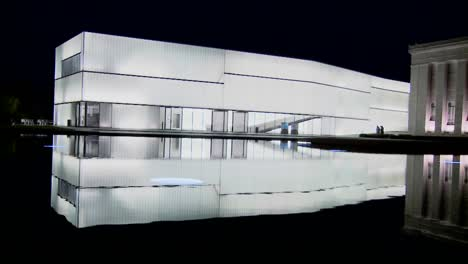 A-modern-building-is-illuminated-and-glows-from-the-inside