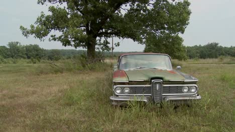 An-old-abandoned-Ford-Edsel-sits-in-a-field