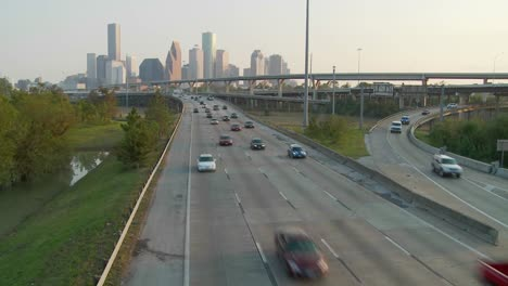 Cars-move-along-a-highway-near-Houston-Texas