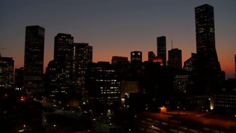 Pan-across-the-Houston-skyline-at-dusk