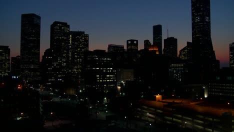 Tilt-up-to-the-Houston-skyline-at-dusk