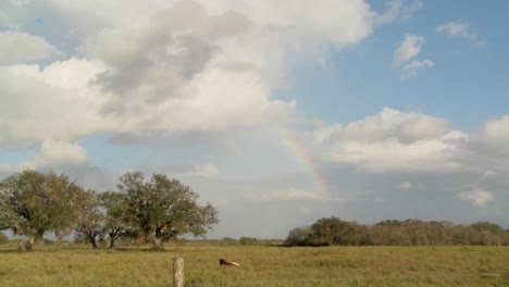 Time-lapse-of-a-rainbow-over-a-farm-field