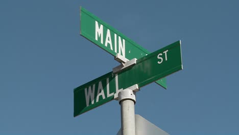 A-street-sign-indicates-the-intersection-of-Main-and-Wall-Streets