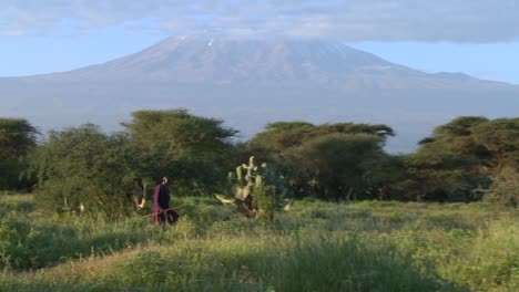 A-Masai-warrior-walks-in-front-of-Mt-Kilimanjaro-in-Tanzania-East-Africa-at-dawn-1