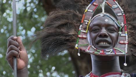 A-Masai-warrior-in-full-headdress-smiles