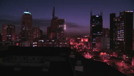 Slow-pan-across-night-skyline-of-Nairobi-Kenya