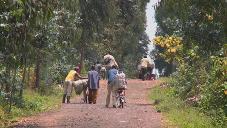 People-walk-their-bicycles-loaded-with-goods-down-a-rural-road-in-Rwanda