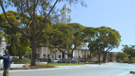 A-man-pushes-a-hand-cart-along-a-road-in-Stone-Town-Zanzibar