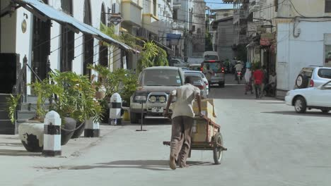 A-man-pushes-a-handcart-up-a-narrow-boulevard-in-Stone-Town-Zanzibar