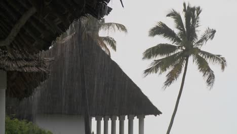 Rain-falls-heavily-at-a-tropical-beach-resort-with-palms-in-background