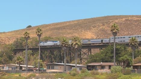 An-Amtrak-passenger-train-moves-across-a-bridge-in-California