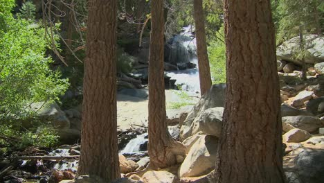 A-moving-shot-through-a-forest-with-an-idyllic-waterfall-in-background