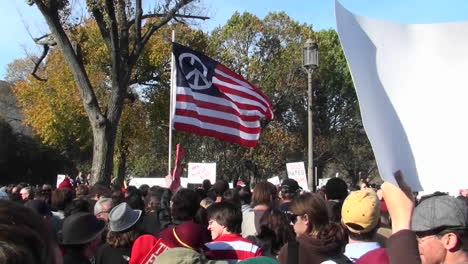 A-peace-flag-flies-at-a-political-rally-in-Washington-DC-1