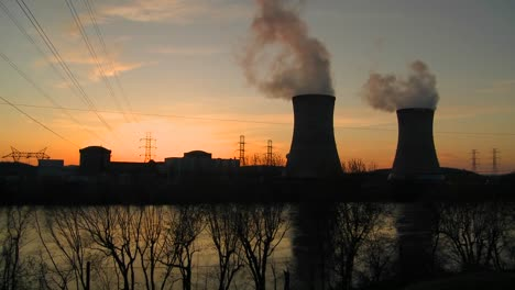 Sunset-behind-a-nuclear-power-plant